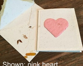 Plantable Valentine, handmade paper, handmade card, homemade paper, blank card, valentine card, eco friendly card, wildflower card, love