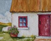 Irish Cottage Art Card ACEO Original Watercolor Artist Trading Card Irish Art