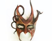 Devilish Jester or Tree Leather Mask with Spirals and Horns red black and brown