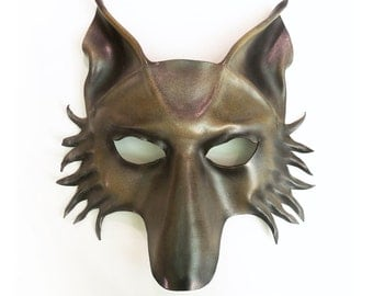 Wolf Leather Mask dog shepherd in Grey with Brown and Black