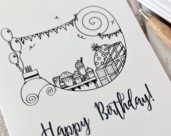 Birthday Card. Happy Birthday Card. Birthday Cards. Happy Birthday Card. Birthday Party Card. Hand Drawn Illustration. Black and White. B&W.