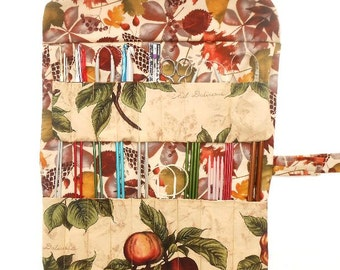 Fruit Print Knitting Needle Case, Green Maroon Tan Crochet Hook Holder, Makeup, Artist Supply or Pencil Storage, Double Pointed Needle Roll