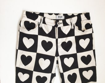 90s MOSCHINO Vintage High Waist heart Print Jeans - black white colorful size 8