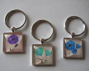 Pretty Purple Flower OR Green Flower OR Blue Flower Glass Tile Keychain