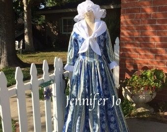 4 pc colonial women's dress milkmaid costume martha washington gown