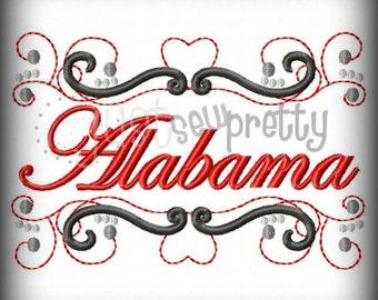 Alabama State Pride Embroidery Design