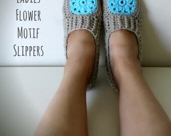 Download Now - CROCHET PATTERN Ladies Flower Motif Slippers - All Ladies Sizes - Pattern PDF