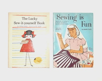1960s children's books / 60s vintage books / sewing / Sewing is Fun and The Lucky Sew-It-Yourself Children's Book Set