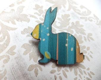 Aqua Striped Wooden Rabbit Brooch