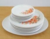 Vintage Melmac Dinnerware • Mar- Crest Dinnerware Set 19 Piece • Golden Dawn Peach Colored Blossoms
