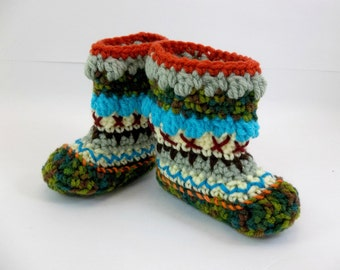 Crochet Baby Booties 9 - 12 Months  Mukluk Alaskan Baby Booties Multicolored OOAK