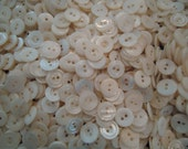 "Vintage Mother of pearl Buttons 1 POUND antique milky white 2 holes NOS 9/16"" USA"