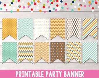 Printable Party Banner PDF Printable Bunting Aqua Blue Orange Brown INSTANT DOWNLOAD