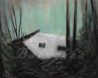 After the Cyclone, Original Painting, Surrealism, Storm, Damage, Fairy Tale, Folk Tale, White House, Window, Fallen House, Falling Down