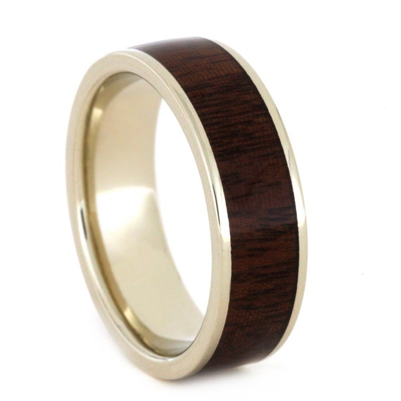 wood wedding ring 14k white gold wedding band by