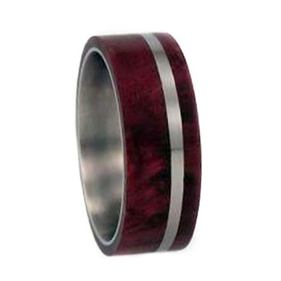 Wooden Wedding Band, Titanium Ring With Redwood, Nature Inspired Ring