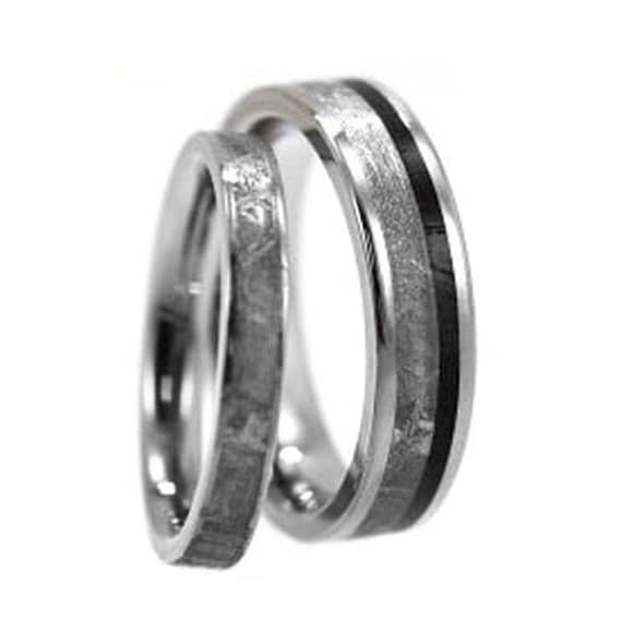 his and hers wedding band set mens titanium ring by