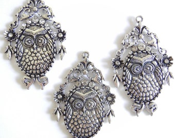 Set of 3 Large Owl Bird Pendants Antique Silver-tone Rhinestone