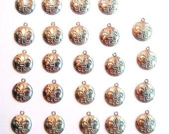 24 Small Round Brass Fleur de Lis Charms