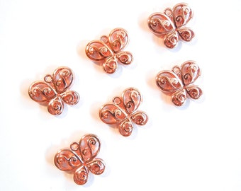 6 or 3 Pairs of Bright Copper-tone Dimensional Butterfly Charms