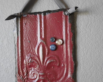 Fleur de lis Magnetic Frame & Memo Board / Antique Ceiling Tin