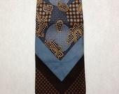 YSL Yves Saint Laurent One Up Neiman Marcus silk paisley necktie tie blue