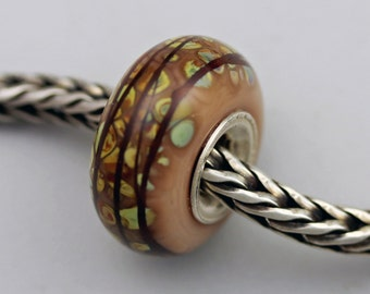 OOAKK Raku Mosaic Bead  - European Charm / Bracelet Bead (SEPT-98)