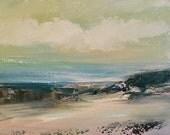 Clear Day- Beach Minimalist Painting-  Beach- Sand- Acrylic on Gesso Wood Panel-  8 x 10 - Original Art- Beach- Water-Neutral Colors
