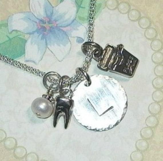 Dental Hygienist Necklace, Dentist Hand Stamped Sterling Silver Initial Charm Necklace, Dental Floss and Tooth Charm Necklace, Dental Gifts