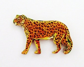 Leopard Brooch - Pin / Unique Gift Under 50 / Upcycled 1960s Hand Cut Wood Puzzle Piece / Brown Wood Jungle Animal Brooch