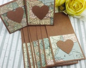 Mini Kraft Heart Cards Map Globetrotter Collection Set of 9