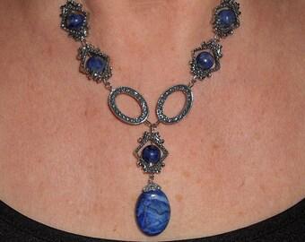 Lapis necklace, lapis jewelry, statement necklace, boho jewelry, geometric gemstone jewelry, designer jewelry, lapis lazuli necklace