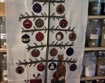 MODA...Christmas Quilt Panel with Kitty Cat by Sandy Gervais from Take a Bough fabric line.