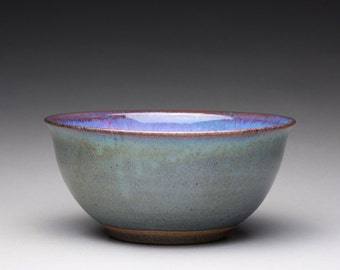 handmade pottery bowl, ceramic serving bowl, noodle bowl with lavender and blue green wood ash glazes