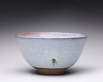 handmade matcha chawan, tea bowl, pottery bowl with white ash glazes