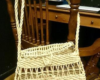 Vintage Handmade Reed Wicker Handbag Crossbody *** FREE SHIPPING