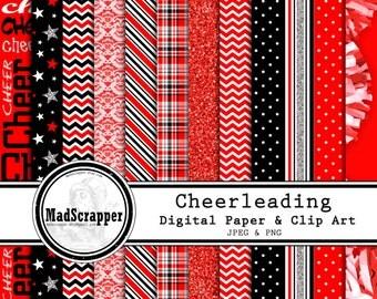 Digital Scrapbook Paper Cheerleading Red and Black 12 Patterns 3 Solids 12 x 12 BONUS Clip Art  Instant Download