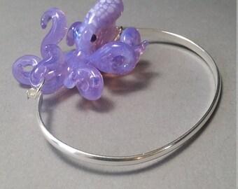 Purple Octopus Bracelet on Silver cuff braclet
