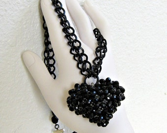 Black Heart Necklace, Heart Necklace, Puffed Heart, Goth Heart, Double Strand, Black Chunky Chain, Pendant Necklace, Handmade