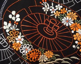 Vintage haori S149, black, embroidered, silk,