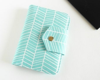 Passport Wallet , Travel Wallet, Passport Holder for Two OR Four Passports in Aqua Herringbone - Made To Order