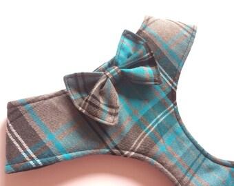 Pug Dog harness - Tartan, Custom Made Soft Dog Harness