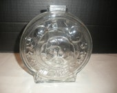 Vintage Mickey and Minnie Mouse Glass Round Piggy Bank Walt Disney made by Anchor Hocking