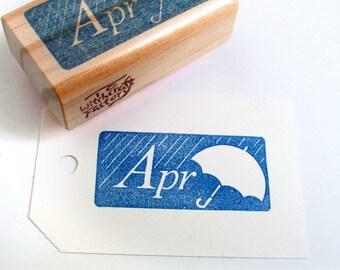 Hand Carved Rubber Stamp, April