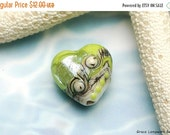 ON SALE 30% OFF Lime Stardust Heart Focal Bead - Handmade Glass Lampwork Bead -11831705