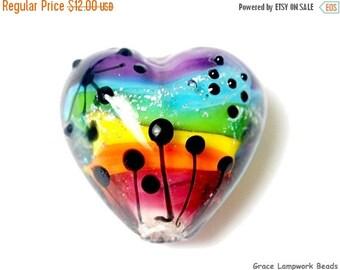 ON SALE 40% OFF Rainbow Balloons Heart Focal Bead - Handmade Glass Lampwork Bead 11835905