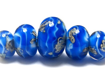 NEW! Five Sky Blue Treasures Graduated Rondelle Beads 10413611 - Handmade Glass Lampwork Beads