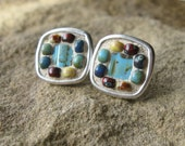 Turquoise and Multi Color Seed Bead Mosaic Post Earrings in Antiqued Silver Plated Setting