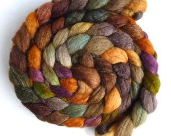 Blueface Leicester/ Tussah Silk Roving (Top) - Handpainted Spinning or Felting Fiber,  Morning Fenceline