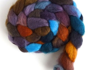 Reflections on Mirror Lake, CTA Spin-Along, BFL Wool Roving - Hand Painted Spinning or Felting Fiber